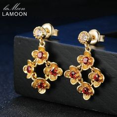 ==> [Free Shipping] Buy Best Lamoon 80.6ct 100% Natural Red Garnet 925 Sterling Silver Flower Drop Earrings 14K Yellow Gold Plated S925 Fine Jewelry LMEI018 Online with LOWEST Price | 32811422471