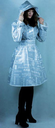 Faux Leather PVC  Regenjacke Kapuze Plastik-Regenmantel Jacke grau