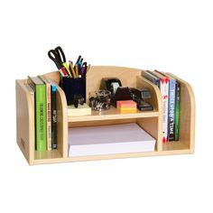 Teacher's Helper Desktop Organizer - All-wood organizer stores books, binders, folders, papers and more!