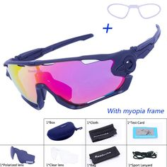 3883f2342163 3 Lens Mens Polarized Brand Cycling Glasses Mountain Bike Goggles Sport MTB Eyewear  Bicycle Sunglasses Tour De France