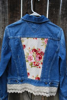 Gorgeous upcylced denim jacket - CraftGirlzCorner on Etsy
