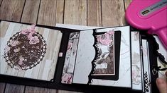 Tutorial for My Prima Rose Quartz 5 Page Chunky Mini Album Mini Albums, Diy Mini Album, Mini Photo Albums, Mini Album Tutorial, Rose Tutorial, Mini Album Scrapbook, Tutorial Scrapbook, Memory Album, Memory Books