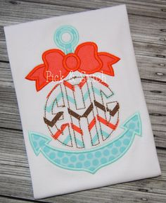 Girly Made for Monogram Anchor with Bow Applique Design Machine Embroidery INSTA. Embroidery Monogram, Embroidery Fonts, Embroidery Applique, Embroidery Ideas, Applique Patterns, Applique Designs, Machine Embroidery Designs, Pick Stitch, Stitch Design