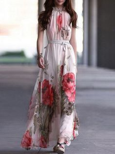 You can still look stylish and fashionable with maxi dress outfits. The thing about maxi dress is its comfort. It is also the most forgiving type of clothes that you can wear without guilt. Polka Dot Maxi Dresses, White Maxi Dresses, Sexy Dresses, Casual Dresses, Floral Dresses, Cheap Dresses, Fashion Dresses, White Dress, Chiffon Maxi Dress