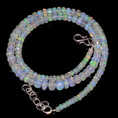 """59CRTS 3.5to6.5MM 18"""" ETHIOPIAN OPAL FACETED RONDELLE BEADS NECKLACE OBI2247 #OPALBEADSINDIA"""