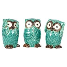 3 Piece No Evil Owl Statue Set.I personally have quite a collection of the hear no evil.see no evil.speak no evil things. Owl Always Love You, Ceramic Owl, Wise Owl, Turquoise, My New Room, Joss And Main, Decorative Objects, Decorative Accents, Crafty