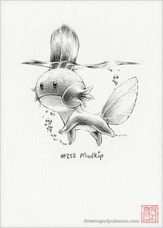Mudkip  5 x 7 print pokemon drawing art artwork by RockyHammerEtsy