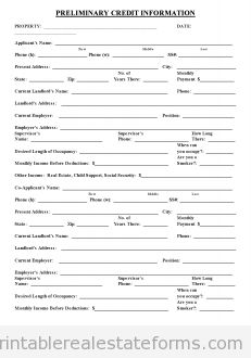 Free Preliminary Credit Application Printable Real Estate Document Applications Form Printables