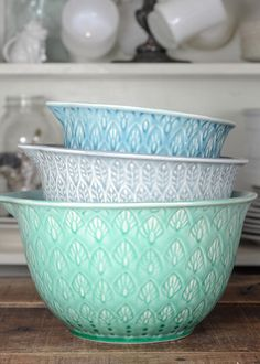 Functional and fun ceramic nesting bowls to mix up eggs and knead dough