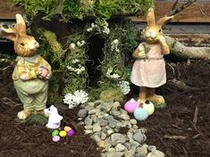Pastel Bunny Lovers. www.teeliesfairygarden.com . . . Looking for Easter fairy garden accessories with a whimsical flair? These vintage-style miniature bunnies will be a great addition to your Easter scene! They come with more fairy garden accessories too.  #fairyscoop