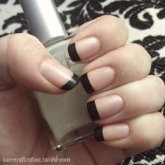 matte black tipped French nails