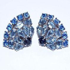 Vintage JULIANA Light & Dark Blue Glass Rhinestone Silver Tone Clip Earrings #Juliana #Clip