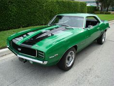1969 Camaro, RS.SS X66 L35Engine 396in³ Big Block6.5Lt 325Hp 242kW @4800RPM 410lb.ft 556nm@3200rpm,4 Speed Manual Rallye Green with Black Stripes