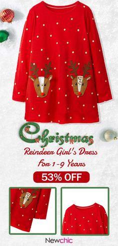 US  18.99 Christmas Pattern Girls Long Sleeve Casual Dress For 1Y-9Y 804b6b4ca