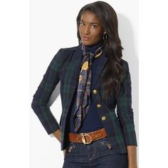 Shiny regimental buttons accent the jaunty plaid of a fitted jacket tailored from stretch cotton. Color(s): navy multi. Brand: LAUREN RALPH LAUREN.