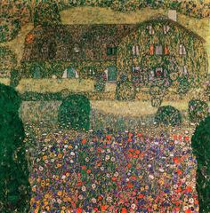 Country House by the Attersee, c.1914 (oil on canvas) by Klimt, Gustav (1862-1918); 110x110 cm; Private Collection