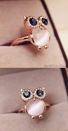 So so cute Lovely Owl Opal Opening Animal Ring ! #owl #opal #ring #cute