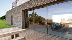 theEDGE ultra slim sliding door, exclusively manufactured and installed by IDSystems Aluminium Sliding Doors, Self Build Houses, House Extensions, Windows And Doors, Sliders, Modern Farmhouse, Minimalism, Slim, Flooring