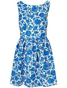 Blue and white floral dress from Topshop.