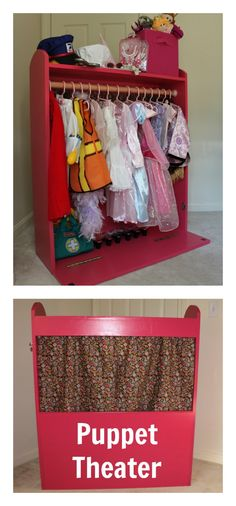 Dress Up Storage & Puppet Theater Diy Projects For Kids, Diy For Kids, Wood Projects, Bookshelf Plans, Desk Plans, Dress Up Storage, Clothes Storage, Diy Clothes, Puppets For Kids