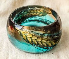 Wheat Resin Bangle. Sky Blue and Brown Coloured by PAGANEuniques