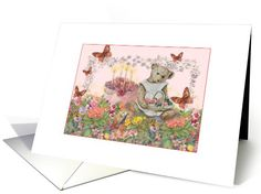 from birthday cake to butterflies, this birthday greeting has everything! Illustrated teddy bear in garden, birthday cake card