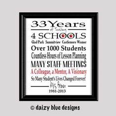 Teacher Retirement Gift Retired Teacher Gift by DaizyBlueDesigns, $10.00