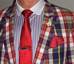 Gant madras blazer, Zara shirt, Penguin tie...
