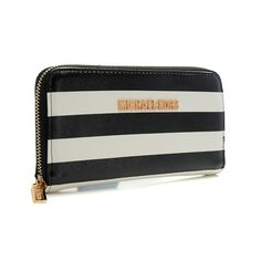 Oh my~~love this idea: Michael Kors Outlet Jet Set Striped Zip Small Black white Wallets $28.99