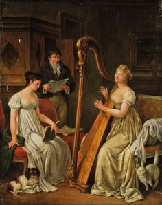 Follower of Marguerite Gérard (French, 1761 - 1837): Elegant figures making music in an interior