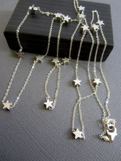 Silver star necklace Long necklace Star ecklace layerig by Muse411, $72.00