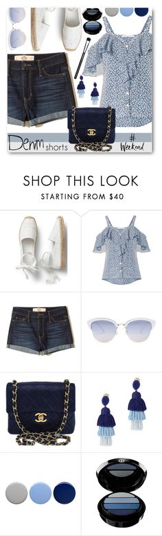 """Denim Shorts For the Weekend"" by brendariley-1 ❤ liked on Polyvore featuring Veronica Beard, Hollister Co., AQS by Aquaswiss, Chanel, Oscar de la Renta, Burberry, Giorgio Armani, MAC Cosmetics, denim and shorts"