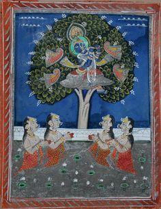 Bhagavata Purana: Krishna steals the gopis clothes. Devgarh or Nathdwara, circa 1820-40