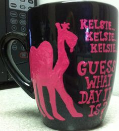 Personalized and Colored-Hump Day Coffee Mug- glass-handpainted- guess what day it is- Hump Day Camel- Wednesday Coffee mug (OMG!!!! We could make these using dollar mugs I found at market basket and sharpie paint markers!!!!!--Misty)