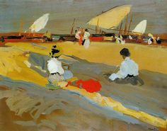 joaquin sorolla y bastida Paintings I Love, Beach Paintings, Spanish Painters, Klimt, Beach Art, Pictures To Paint, Illustrations, Sculpture, Painting & Drawing