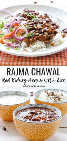Rajma Chawal (red kidney beans with rice) is a delicious Punjabi recipe that's really easy to make in an instant pot or pressure cooker. A complete and totally irresistible Indian meal! Vegetarian Bean Recipes, Lentil Recipes Indian, Indian Food Recipes, Rajma Recipe Punjabi, Punjabi Recipes, Recipes With Kidney Beans, Beans Recipes, Veg Recipes, Recipies