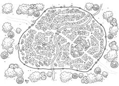 City Layout, Map Layout, Plan Ville, Fantasy Map Making, Steampunk City, Fantasy Town, Imaginary Maps, Village Map, Dungeon Maps