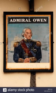 "Pub sign ""Admiral Owen"", 8 High Street, Sandwich, Kent, England, United Kingdom, Europe Stock Photo"