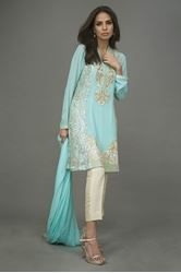 Blue valley by Deepak Sherwani Chiffon paneled tunic with embroidery on the neckline and hem done in resham, zari,sequins and pearls. Trousers and chiffon dupatta is added to finish the look.  http://www.deepakperwani.com/blue-valley
