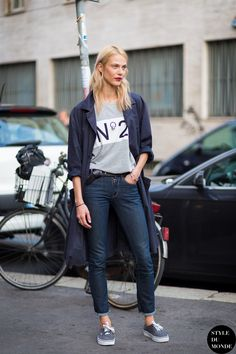 #AymelineValade trenching it #offduty in Milan.
