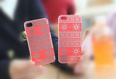 Red Snowflake iPhone 5/5S Slim Hard Clear Mobile Phone by ATHiNGZ, $9.99