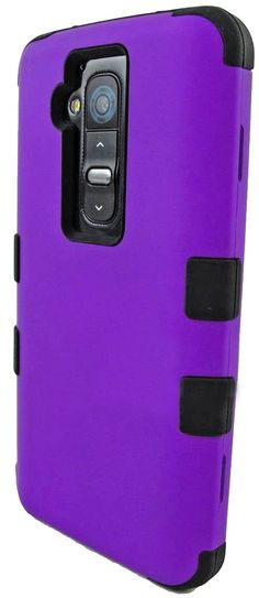 Amazon.com: myLife Violet Purple + Onyx Black {Impact Design} 3 Piece Neo Hybrid Case for the for the LG G2 Smartphone (External Rubberized ...
