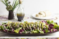 warm steak with pear and blue cheese salad