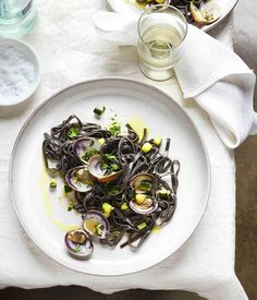 Australian Gourmet Traveller recipe for squid-ink bavette with clams and zucchini by Nino Zoccali from Pendolino restaurant in Sydney. Clam Recipes, Seafood Recipes, Vegetarian Recipes, Seafood Dishes, Fish And Seafood, Clam Pasta, Seafood Pasta, Pasta Menu, Squid Ink Pasta