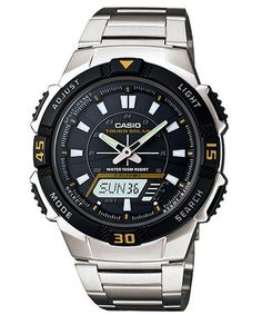 Casio Men s AQS800WD-1EV Silver Stainless-Steel Quartz Watch with Black  Dial Casio. 5c30a0b3ae