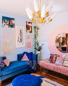home decor blue pink and blue living room decor, wall art decor Interior Design Software, Salon Interior Design, Home Design, Design Ideas, Colorful Interior Design, Colorful Interiors, Design Projects, Interior Colors, Interior Livingroom