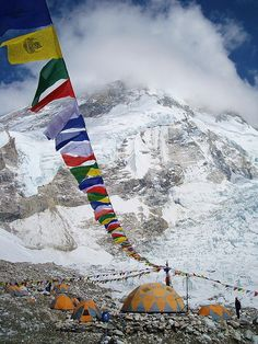 Buddist praying flags in 8000 meter pake base camp, Himalaya.