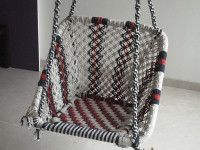 Buy single seater cotton rope swing set, beautifully woven spiral and criss-cross design, available at Minesh Engineering Corporation. Rope Swing, Indian Home Decor, Cross Designs, Cotton Rope, Swings, Chanel Boy Bag, Shoulder Bag, Pure Products, Mumbai