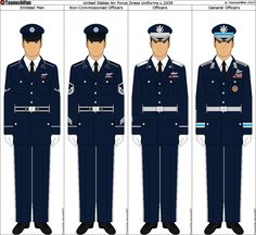 Panterria - United States Air Force Dress Uniforms by Tounushifan . New Air Force Uniform, Army Class A Uniform, Army Dress Uniform, Air Force Uniforms, Airforce Ranks, Military Ranks, Military Insignia, Military History, Stylish Clothes