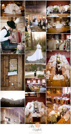 Rustikale bayerische Dekoration bei einer Hochzeit in Ruhpolding im Chiemgau…